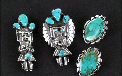 A Turquoise and Silver Bolo / Pendant.