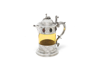 A Victorian silver and hardstone ewer