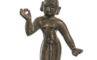 A bronze figure of Radha, India or Nepal, 9,5 cm high