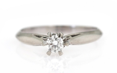 NOT SOLD. A diamond solitaire ring set with a brilliant-cut diamond, mounted in 14k white...