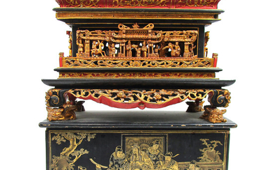 A gilt-lacquer wooden festival day shrine and cover