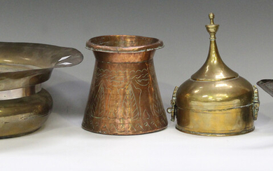 A group of Eastern copper and brass, including a domed box, height 20cm, a burner and a pouring vess