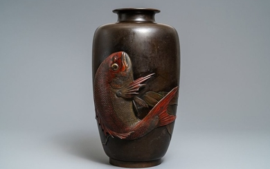 A large Japanese bronze vase with a koi,...