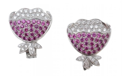 A pair of diamond and pink sapphire earrings
