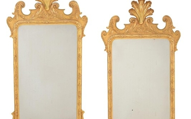 A pair of giltwood wall mirrors in mid 18th century style
