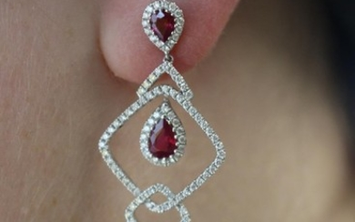 A pair of ruby and diamond earrings from the late noughties....