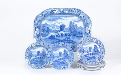 A selection of mostly Spode blue and white printed pottery and pearlware 'Lucano' pattern
