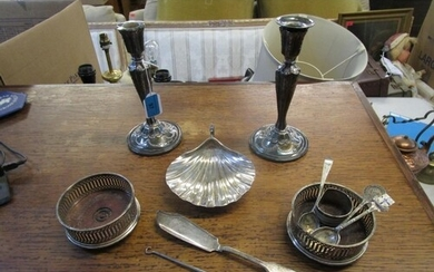 A selection of silver to include a pair of neo-classical ins...