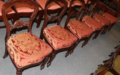 A set of six reproduction Victorian style dining chairs; and...