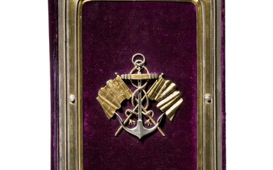 A splendid silver-mounted writing case of the St. Petersburg Yacht Club, awarded to the renowned architect Pavel Karlovitch Notbek (1824 – 1877), St. Petersburg, dated 1870/1872
