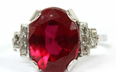 A white gold synthetic ruby and diamond ring