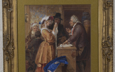 After William Mulready - Choosing the Wedding Gown, a Scene from William Goldsmith's The Vicar