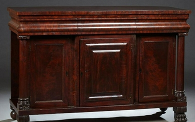 American Classical Carved Mahogany Sideboard, 19th c.