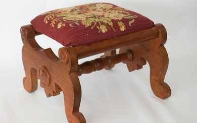 American Classical Walnut & Upholstered Footstool