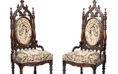 American Gothic Carved Mahogany Side Chairs