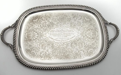 American silverplate presentation tray