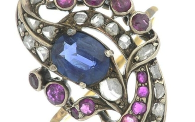 An early 20th century gold sapphire, ruby and rose-cut