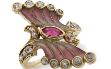 An enamel and gem-set ring, of spray design, set with a marquise-shaped ruby and graduated old circular-cut diamonds, with plique-à-jour enamel decoration in gold, size L 1/2