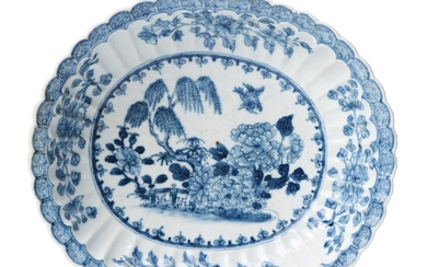 An oval blue and white bowl, Qing dynasty, Qianlong (1736-95).