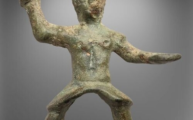 Ancient Roman Bronze Figurine of an Equestrian Warrior in a Riding position.