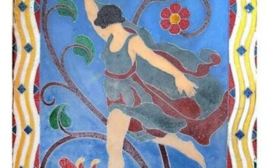 Art Deco-Style Wall Relief of Female Dancer