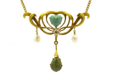Art Nouveau Yellow Gold Turquoise Natural Pearl and
