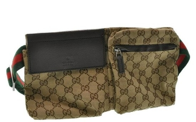 Authentic Gucci Web Sherry Line Gg Canvas Waist Bag