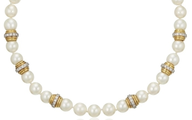 BORIS LEBEAU CULTURED PEARL AND DIAMOND NECKLACE AND EARRINGS,