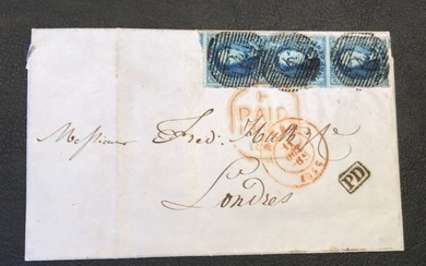 Belgium 1856 - Belgium imperforate medallion 20c OBP 7 in a vertical strip of three on a letter P4 Anvers - OBP / COB 7