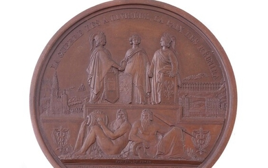 Belgium, Leopold I, Railway Inauguration from Verviers to Aix-la-Chapelle 1843, bronze medal by Hart