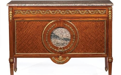 Bronze-Mounted Kingwood and Parquetry Commode