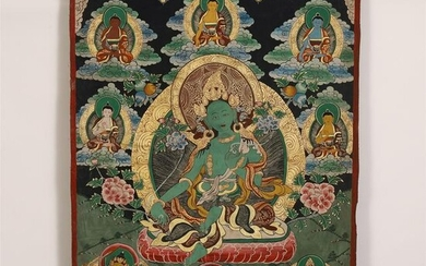 CHINESE GREEN GROUND THANGKA DEPICTING GUANYIN ON LOTUS