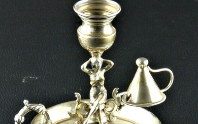 Chamberstick, Chamber candlestick with extinguisher (1) - .915 silver - Spain - Mid 20th century