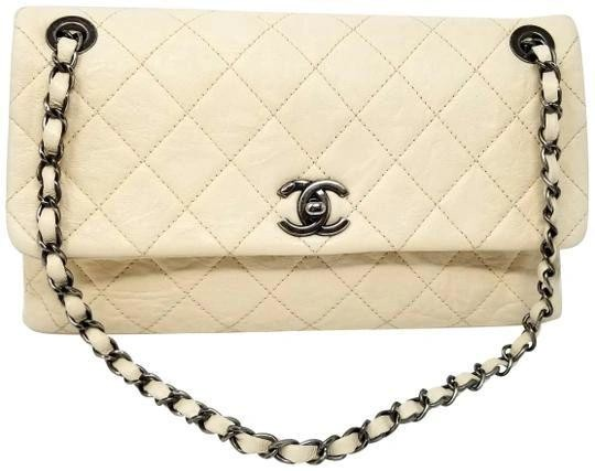 Chanel Winter White Leather Flap Bag with Chain Strap