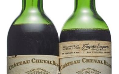 Château Cheval-Blanc 1964, Saint-Emilion, 1er grand cru classé (A) Corroded and damaged capsules, one damaged label Levels one low and one just below low shoulder