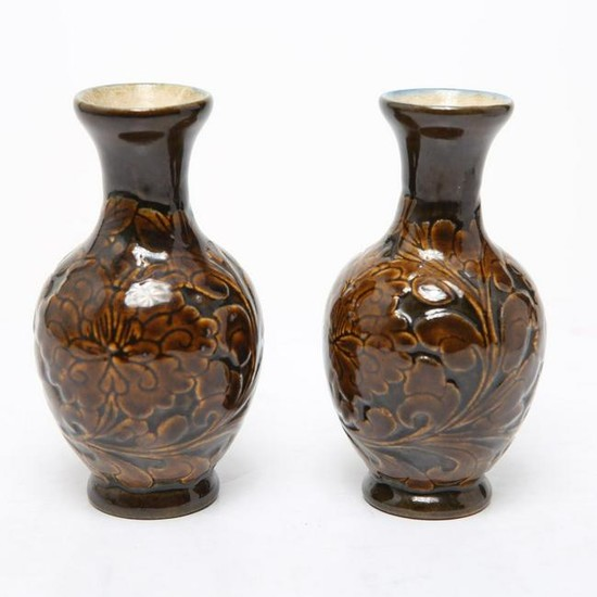 Chinese Carved & Glazed Pottery Bud Vases, Pair