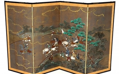 Chinese Four Panel Chinese Screen