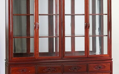 Chinese rosewood lighted china cabinet