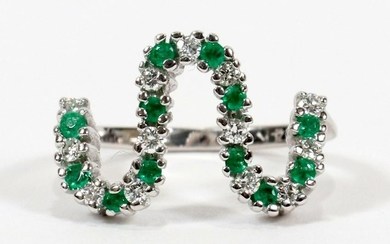"DIAMOND, EMERALD, 14KT WHITE GOLD, ""S"" SHAPED RING"