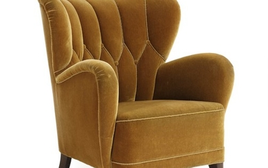 Danish furniture design: Easy chair with beech legs, upholstered with button fitted yellowish velour. 1930–40s.
