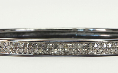 Diamond, silver bangle