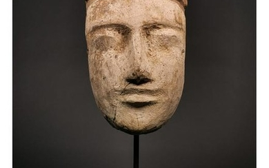 EGYPTIAN WOODEN MASK ON STAND