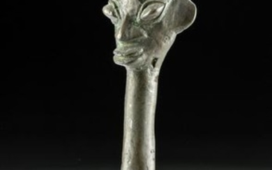 Early 20th C. Yoruba Ogboni Society Brass Edan Finial