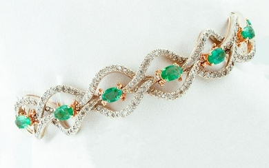 Emeralds and Diamonds, 9k Rose Gold and Silver Retro