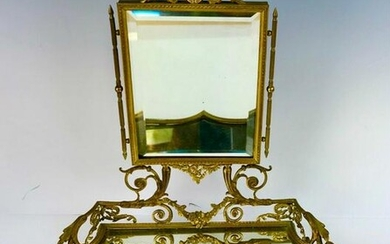FRENCH DRE BRONZE VANITY MIRROR CIRCA 1900