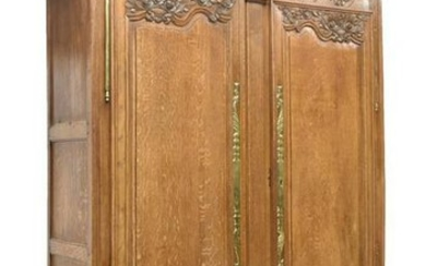 FRENCH LOUIS XV STYLE FLORAL CARVED OAK ARMOIRE