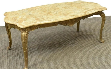 FRENCH LOUIS XV STYLE MARBLE-TOP COFFEE TABLE