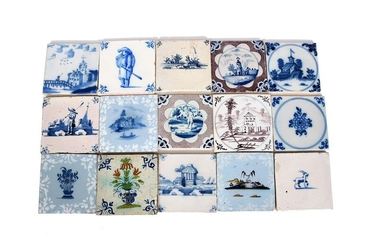 Fifteen Dutch and English Delft tiles 18th century...