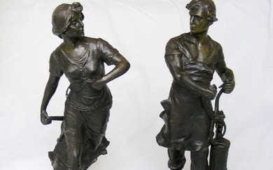 "Figurine(s), Sculpture, ""Le commerce et L'industrie"" (2) - Spelter - Early 20th century"