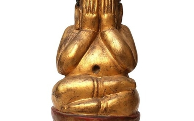 Former great Buddha Phra Pitta Phra Pidta in crafted lasewood - Lacquered wood - Thailand - 19th century